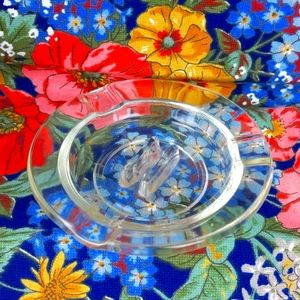 "Vintage ""very old"" clear glass ashtray"